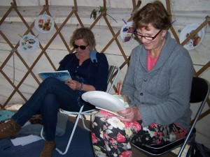Ute and Eloner write poems in the yurt, ArtRoot 2013